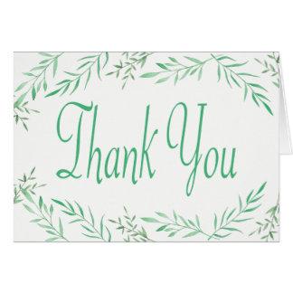 Feuille vert rustique d'aquarelle de Merci, Cartes
