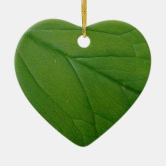 Feuille verte ornement cœur en céramique