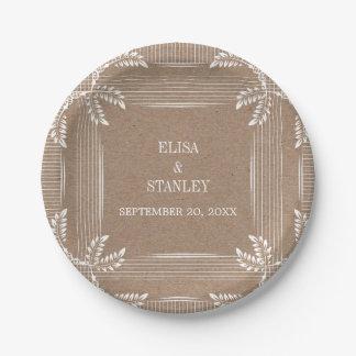 Feuille vintage dans le mariage de automne blanc assiettes en papier