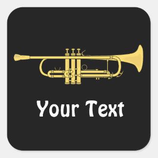 Feuilles de thème de musique de trompette d'or de stickers carrés