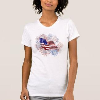 Feux d'artifice de drapeau américain de KRW T-shirts