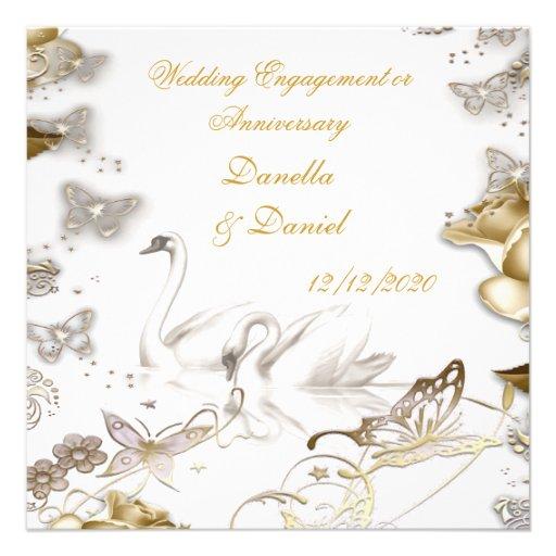 Fiançailles de mariage ou sépia de blanc d'anniver cartons d'invitation