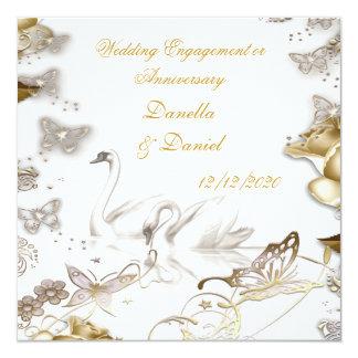 Fiançailles de mariage ou sépia de blanc cartons d'invitation