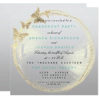 Fiançailles d'or plus rusé gris Ombre de mariage Carton D'invitation 13,33 Cm