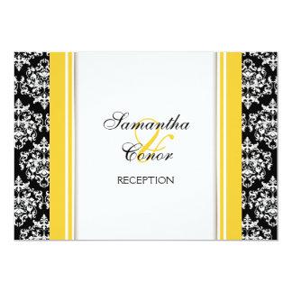 Fiançailles jaune blanc noir de mariage damassé carton d'invitation  12,7 cm x 17,78 cm