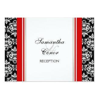 Fiançailles rouge blanc noir de mariage damassé carton d'invitation  12,7 cm x 17,78 cm
