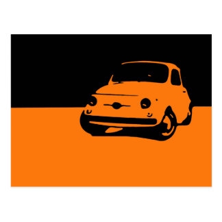 Fiat 500, 1959 - orange sur la carte postale