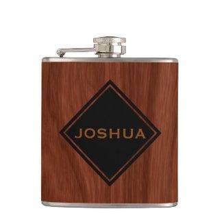 Fibre de bois | d'acajou nommée personnalisée flasques