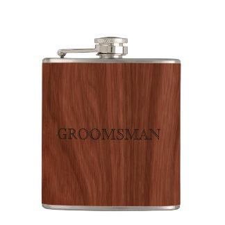 Fibre de bois rustique du mariage | de Groomsman Flasques