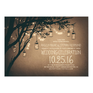 ficelle du mariage vintage de pots de maçon de carton d'invitation  12,7 cm x 17,78 cm