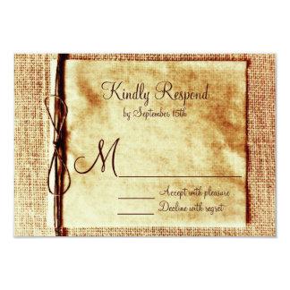 Ficelle rustique de toile de jute affligée carton d'invitation 8,89 cm x 12,70 cm