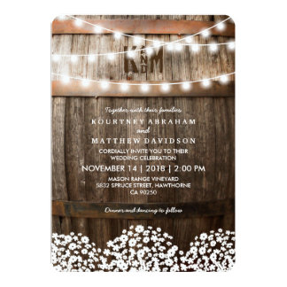 FICELLE RUSTIQUE DU MARIAGE CAMPAGNARD %PIPE% DES CARTON D'INVITATION  12,7 CM X 17,78 CM