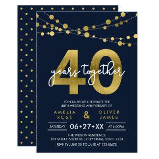 Ficelles bleues d'anniversaire de mariage de carton d'invitation  12,7 cm x 17,78 cm