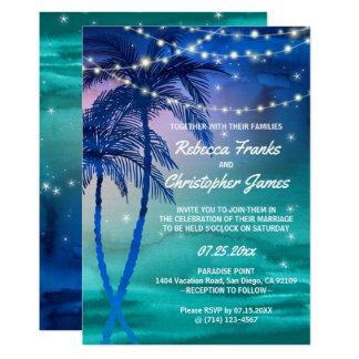 Ficelles de palmiers des lumières épousant des carton d'invitation  12,7 cm x 17,78 cm