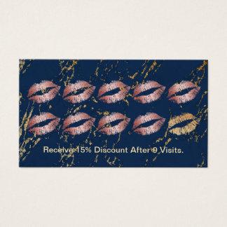 Fidélité à la mode de marine de lèvres roses d'or cartes de visite