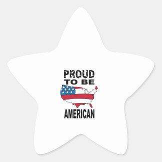 Fier d être américain autocollant en étoile