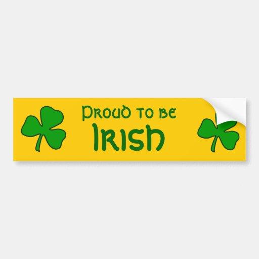 Fier d'être adhésif pour pare-chocs irlandais adhésif pour voiture