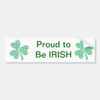 Fier d'être irlandais - shamrock de St Pattys Autocollant Pour Voiture