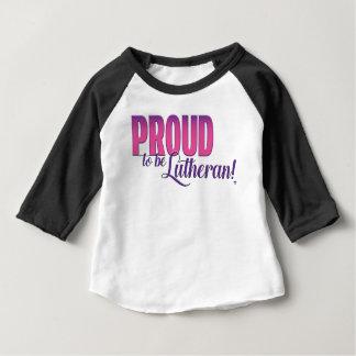 Fier d'être luthérien - raglan de douille du bébé t-shirt pour bébé