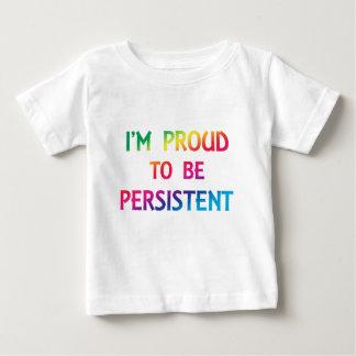 Fier d'être persistant - police d'arc-en-ciel t-shirt pour bébé