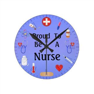 Fier d'être une infirmière/ou votre texte horloge ronde