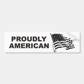Fièrement Américain avec la bannière étoilée de on Autocollant Pour Voiture
