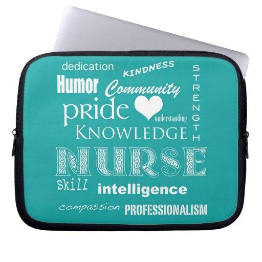 Fierté-Attributs d'infirmière/bleu-vert Housses Ordinateur