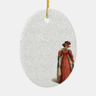 Fierté et préjudice ornement ovale en céramique