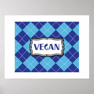 Fierté végétalienne à motifs de losanges bleue affiche