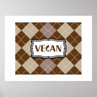 Fierté végétalienne à motifs de losanges de Brown Affiches
