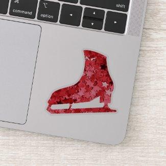 Figure skate sticker - Red Stars (skate shape)