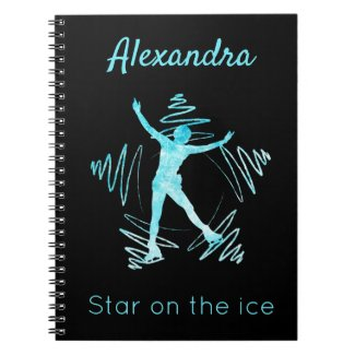Figure skater notebook star on ice frozen blue
