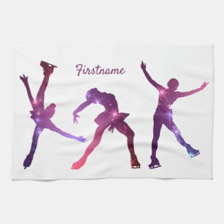 Figure skater Pink Purple star - ice skate towel