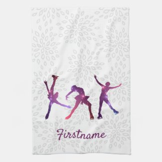 Figure skater Pink Purple star - ice skating towel