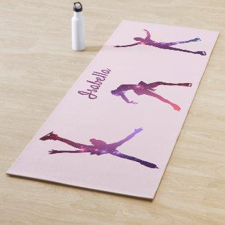 Figure skater yoga mat silhouettes purple stars