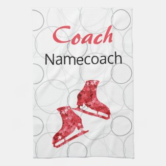 Figure skating coach - red star skate towel