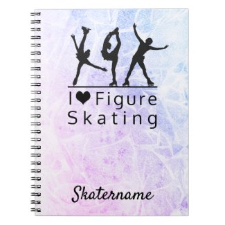 Figure skating notebook - Pink to blue I heart