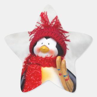 Figurine de pingouin avec l'arbre de Noël blanc Sticker Étoile