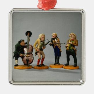Figurines de caricature des musiciens ornement carré argenté