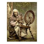 Fileur et roue de rotation irlandais. Cie. Galway, Carte Postale