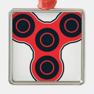 Fileur rouge de personne remuante ornement carré argenté