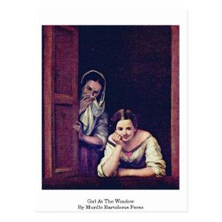 Fille à la fenêtre par Murillo Bartolome Perez Cartes Postales