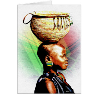 Fille africaine de l'eau carte de vœux