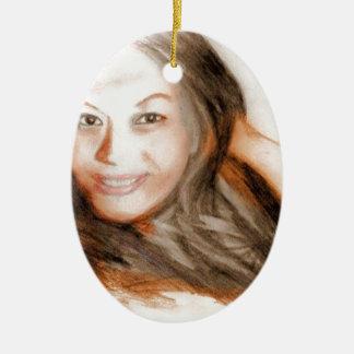 Fille asiatique de femme de dame de beauté ornement ovale en céramique