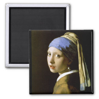 Fille avec des beaux-arts de Vermeer de boucle Magnet Carré
