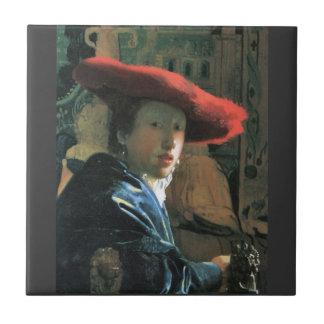 Fille avec le casquette rouge par Johannes Vermeer Petit Carreau Carré