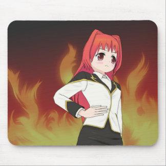 Fille avec le tapis de souris de Manga de flammes