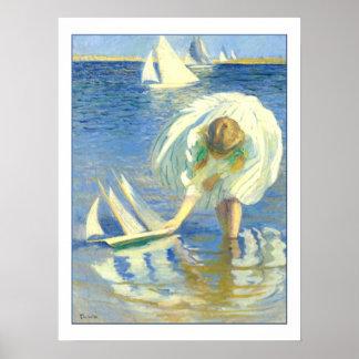 Fille avec le voilier par Edmund Charles Tarbell Poster