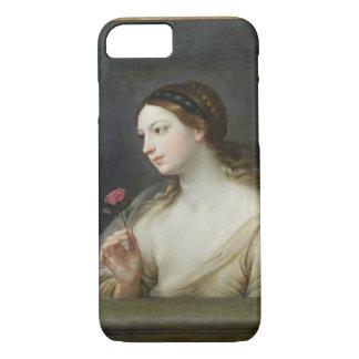 Fille avec un rose (huile sur la toile) coque iPhone 7