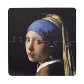 Fille avec une boucle d oreille de perle par dessous de verre puzzle